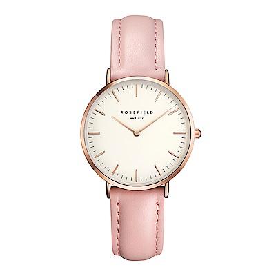 ROSEFIELD The Tribeca系列 粉色皮革錶帶-白x玫瑰金框33mm