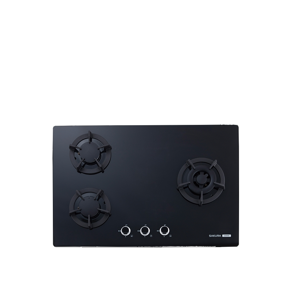 (全省安裝)櫻花三口檯面爐黑色瓦斯爐桶裝瓦斯G-2633GBL