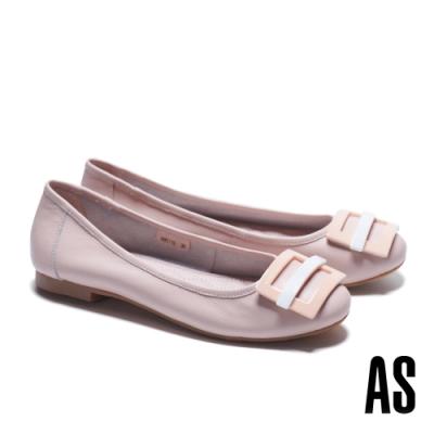 低跟鞋 AS 百搭舒適烤漆方釦水染牛皮低跟鞋-粉