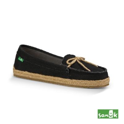 SANUK 女款 US7 復古草編綁帶娃娃鞋(黑色)