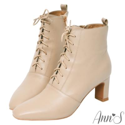Ann'S頂級小羊皮窄瘦修身造型綁帶方頭扁跟短靴-可可
