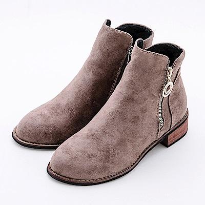 River&Moon短靴 細絨素面圓鑽側拉鍊木跟短靴 卡其