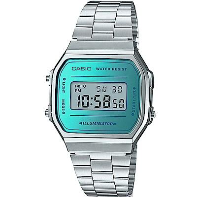 CASIO 經典時尚方形設計數位錶(A-168WEM-2)-藍綠面/36.3mm