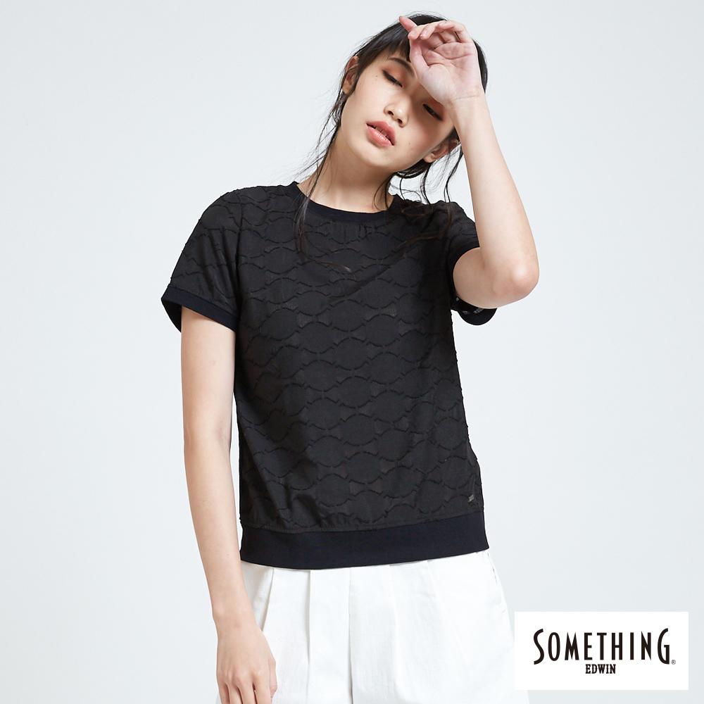 SOMETHING 異素材圓領T恤-女-黑色