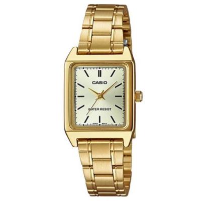 CASIO 方形簡約風指針金色不鏽鋼錶(LTP-V007G-9E)/18mm