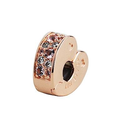 Pandora 粉白鋯石愛心型玫瑰金夾扣