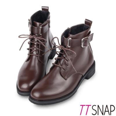 TTSNAP機車靴-韓版綁帶造型側拉鍊短靴 棕