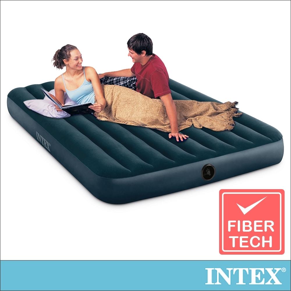 INTEX 經典雙人加大(fiber-tech)充氣床(綠絨)-寬152cm(64734)
