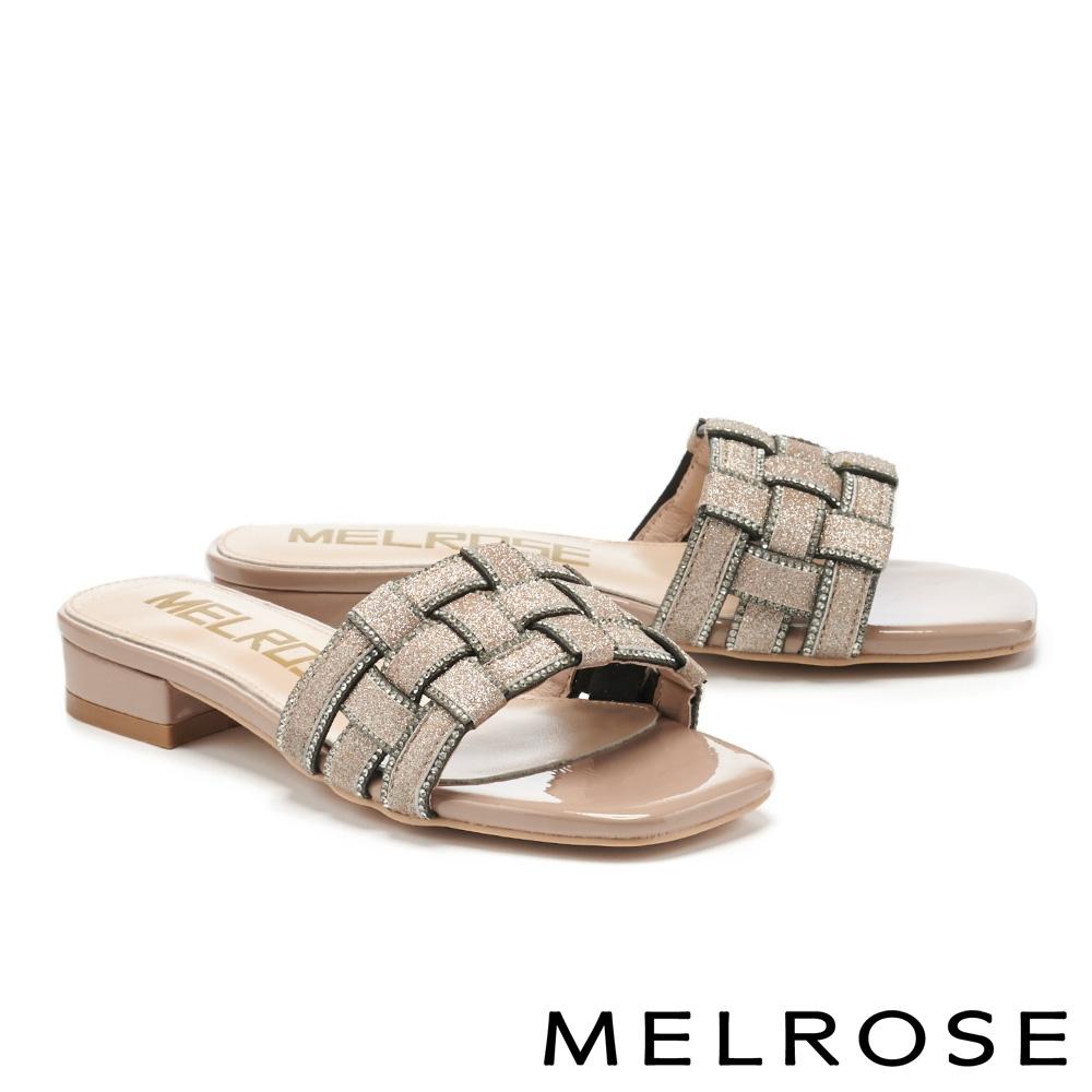 拖鞋 MELROSE 時尚金蔥水鑽編織造型方頭低跟拖鞋-粉