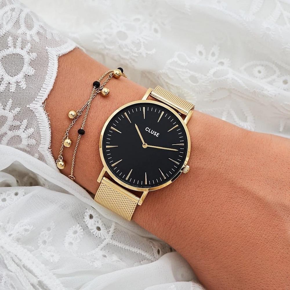 CLUSE La Bohème 波希米亞系列腕錶(金框/黑錶面/金色不鏽鋼錶帶) 38mm