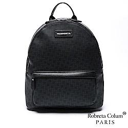Roberta Colum - 型男首選雅痞深黑頭層牛皮後背包