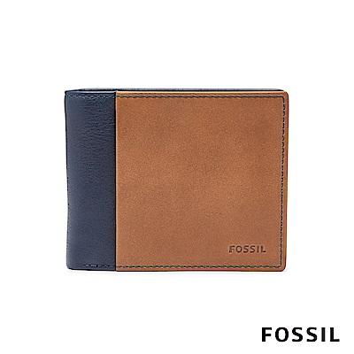 FOSSIL WARD 真皮RFID男夾-海軍藍 ML3918400