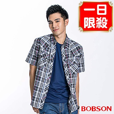 BOBSON 男款格紋短袖襯衫(黑23004-88)