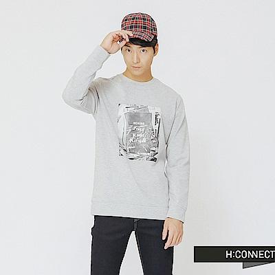 H:CONNECT 韓國品牌 男裝-黑白圖像風格上衣-灰