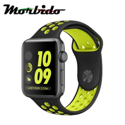 Morbido蒙彼多 Apple Watch 40mm運動型錶帶-黑配螢光黃