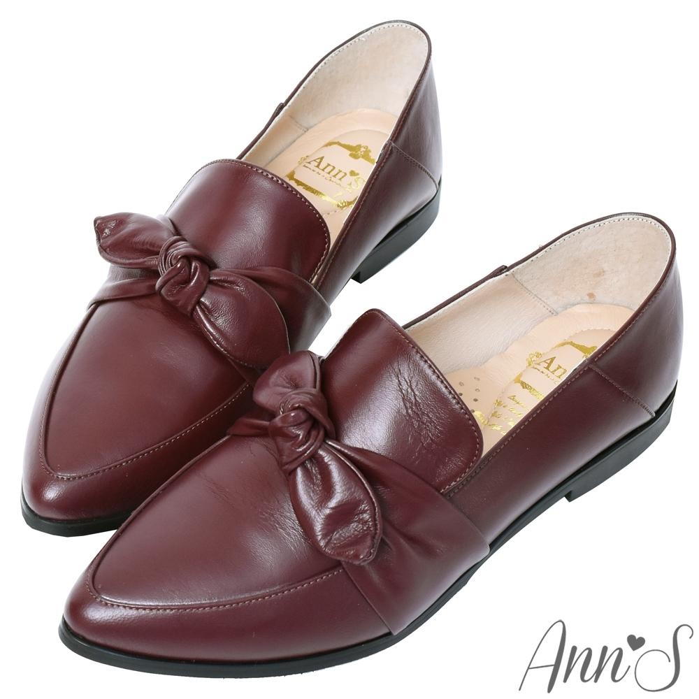Ann'S超柔軟綿羊皮-可拆立體蝴蝶結兩穿穆勒尖頭紳士鞋-酒紅