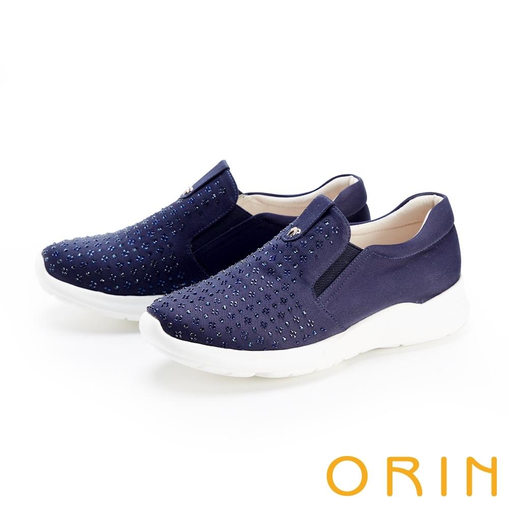 ORIN 小圓珠燙鑽厚底 女 休閒鞋 藍色