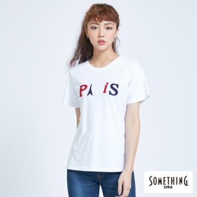 SOMETHING 巴黎字母配色 短袖T恤-女-白色