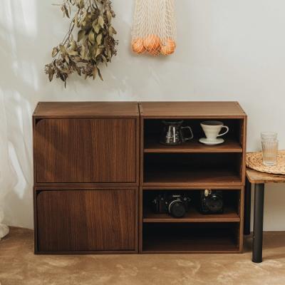 樂嫚妮 二層收納櫃/空櫃/書櫃-層板可抽-淺胡桃木色2入組-42X28.2X28.8cm