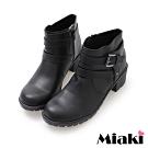 Miaki-短靴日雜暢銷低跟圓頭休閒鞋-黑