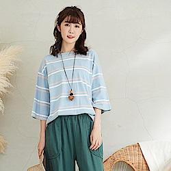 慢 生活雙條配色棉質T恤-F 深藍/淺藍