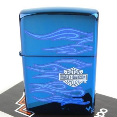 ZIPPO 美系~哈雷~Harley-Davidson-藍色火焰圖案設計打火機