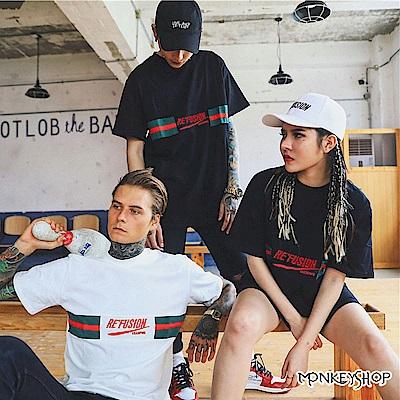 Monkey Shop 情侶款男女韓系街頭潮流翻玩短袖T恤-2色