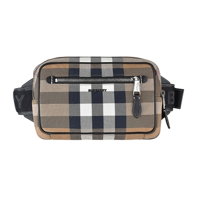 BURBERRY黑字LOGO格紋設計帆布拉鍊斜背腰包(樺木棕)