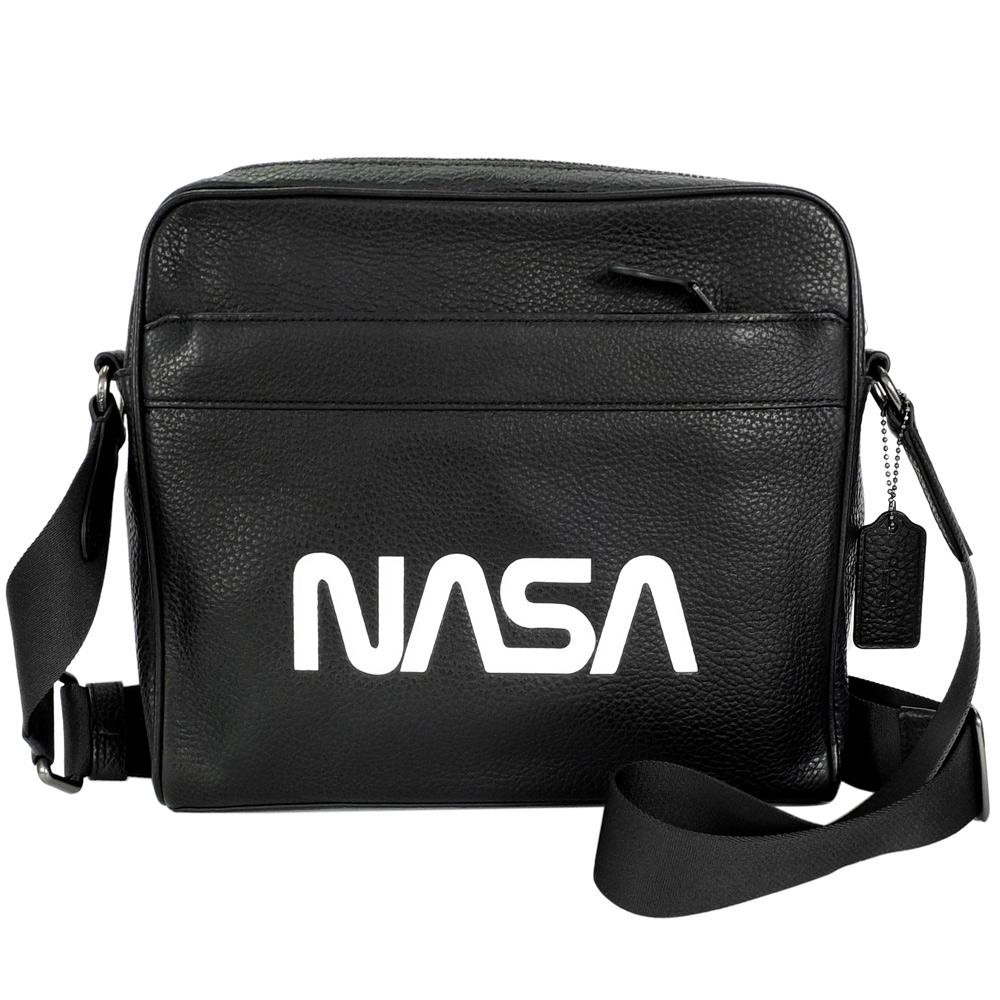 COACH太空系列NASA黑色荔枝紋全皮方型斜背男包