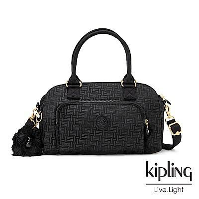Kipling黑色幾何紋路前袋手提側背包-ALECTO