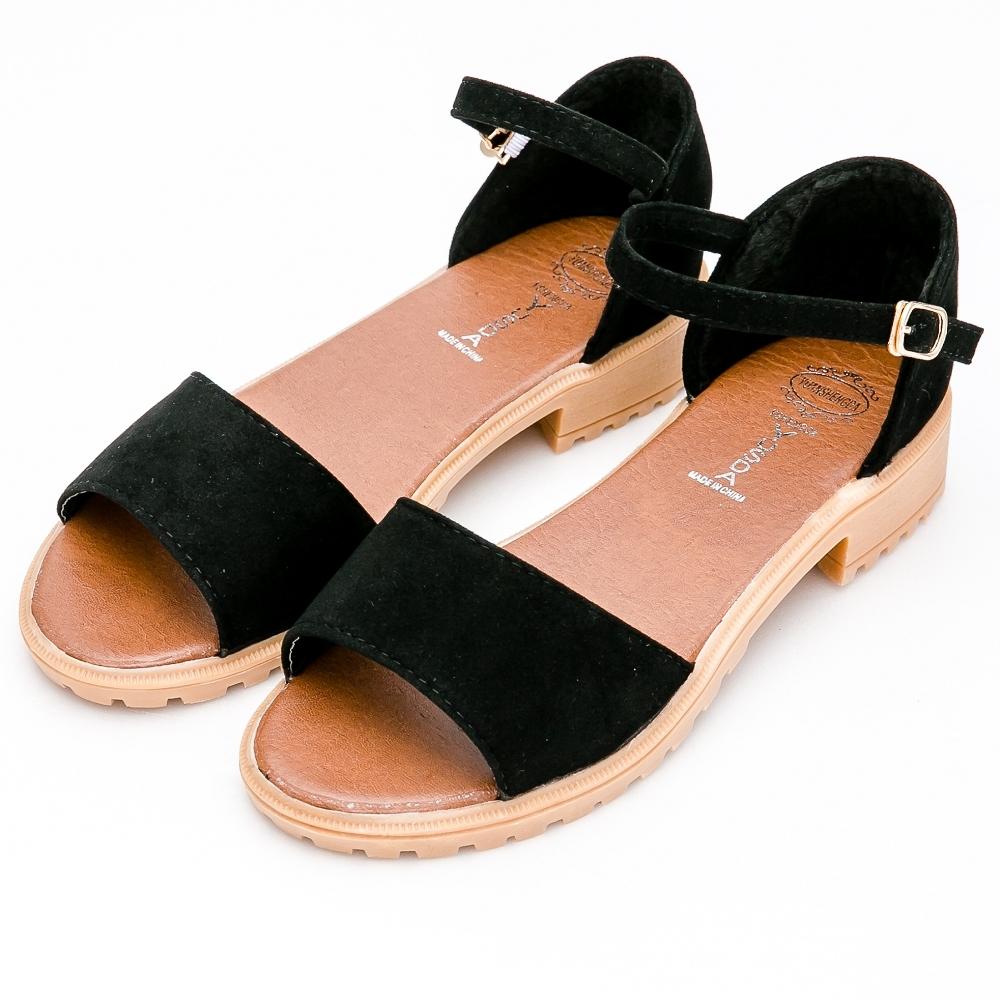 River&Moon涼鞋-簡約素面一字繫踝低跟涼鞋-黑