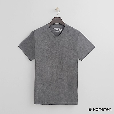 Hang Ten - 男裝 - 有機棉小V領純色T恤 - 灰