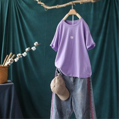 小雛菊刺繡短袖T恤寬鬆純棉內搭上衣-設計所在