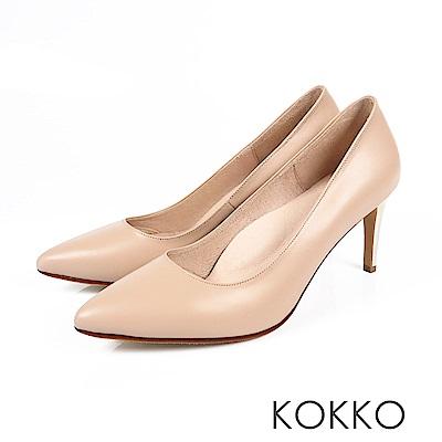 KOKKO - 皇后高貴品格真皮尖頭高跟鞋-牛奶膚