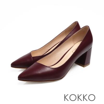 KOKKO - 美的平衡點斜口素面真皮高跟鞋-深赭紅