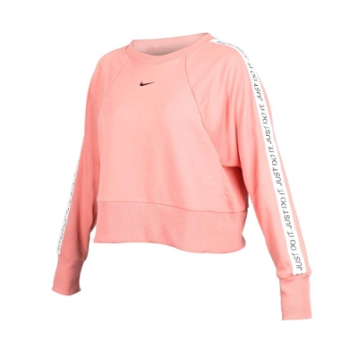 NIKE 女 長袖短版T恤 粉橘黑白