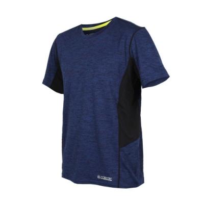 FIRESTAR 男吸濕排汗圓領短袖T恤-短T 慢跑 路跑 麻花深藍黑