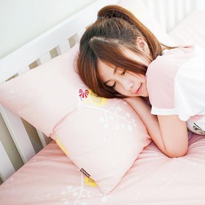 奶油獅-MIT正版授權100%精梳純棉珍珠球棉枕(大)-粉紅