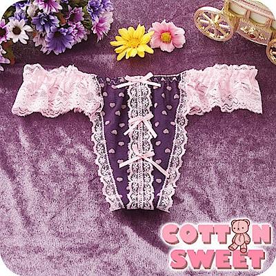 丁字褲  Angel D.愛心雪紗蕾絲 丁褲 - 紫粉 棉花甜
