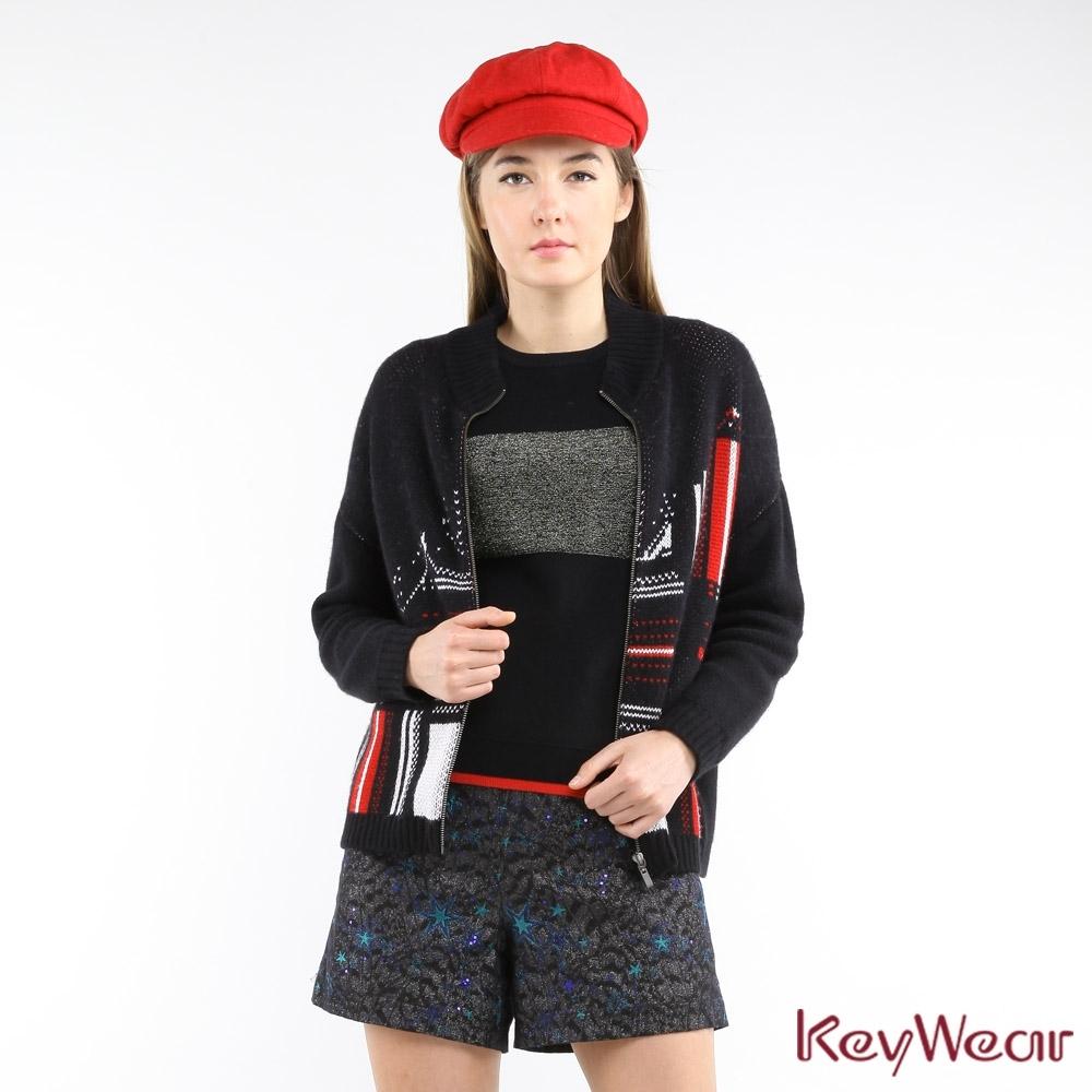 KeyWear奇威名品    英倫時尚鳥眼緹花長袖毛衣外套-黑色