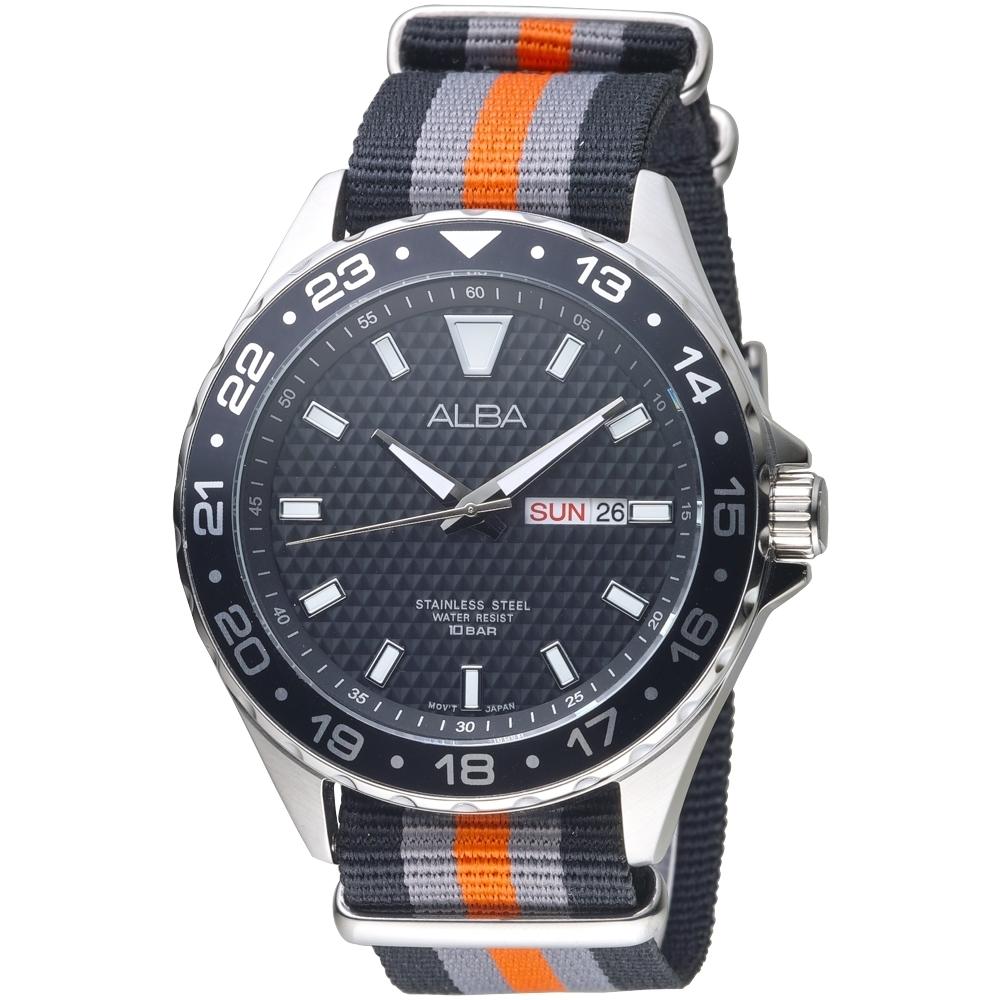 ALBA雅柏手錶 運動家百米防水黑色迷彩男錶(AV3521X1)/45mm 保固二年