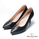 【CUMAR】文藝羅浮宮- 特殊皮革壓紋簡約高跟鞋-黑