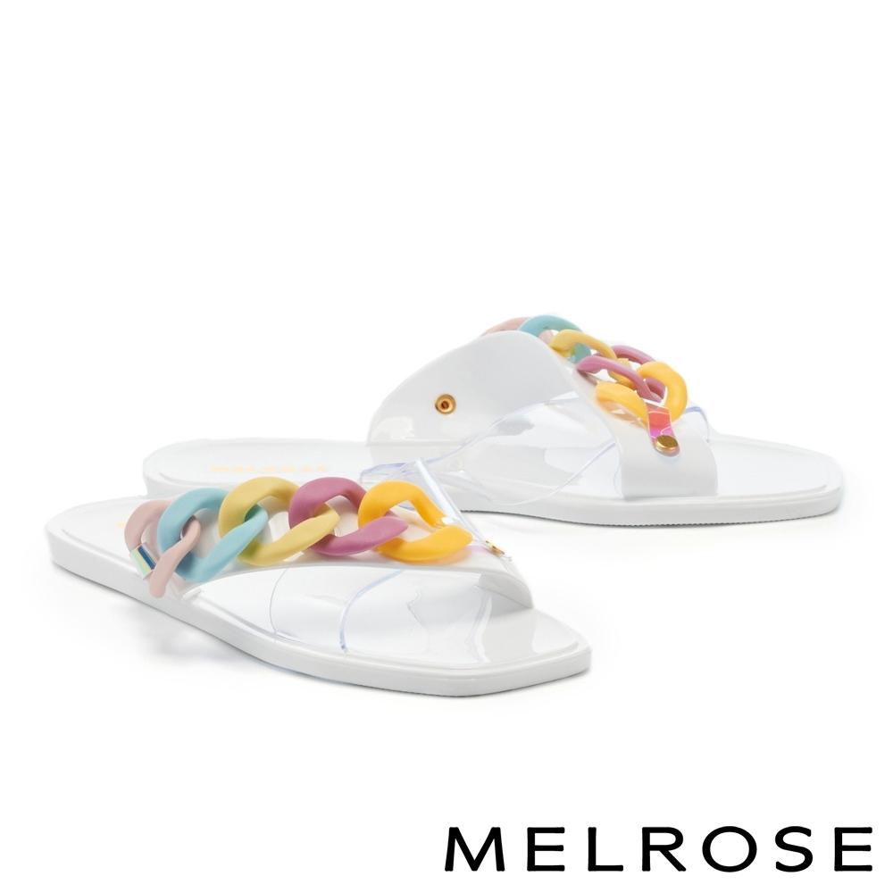 拖鞋 MELROSE 悠閒度假粗鏈條透明片平底拖鞋-彩白