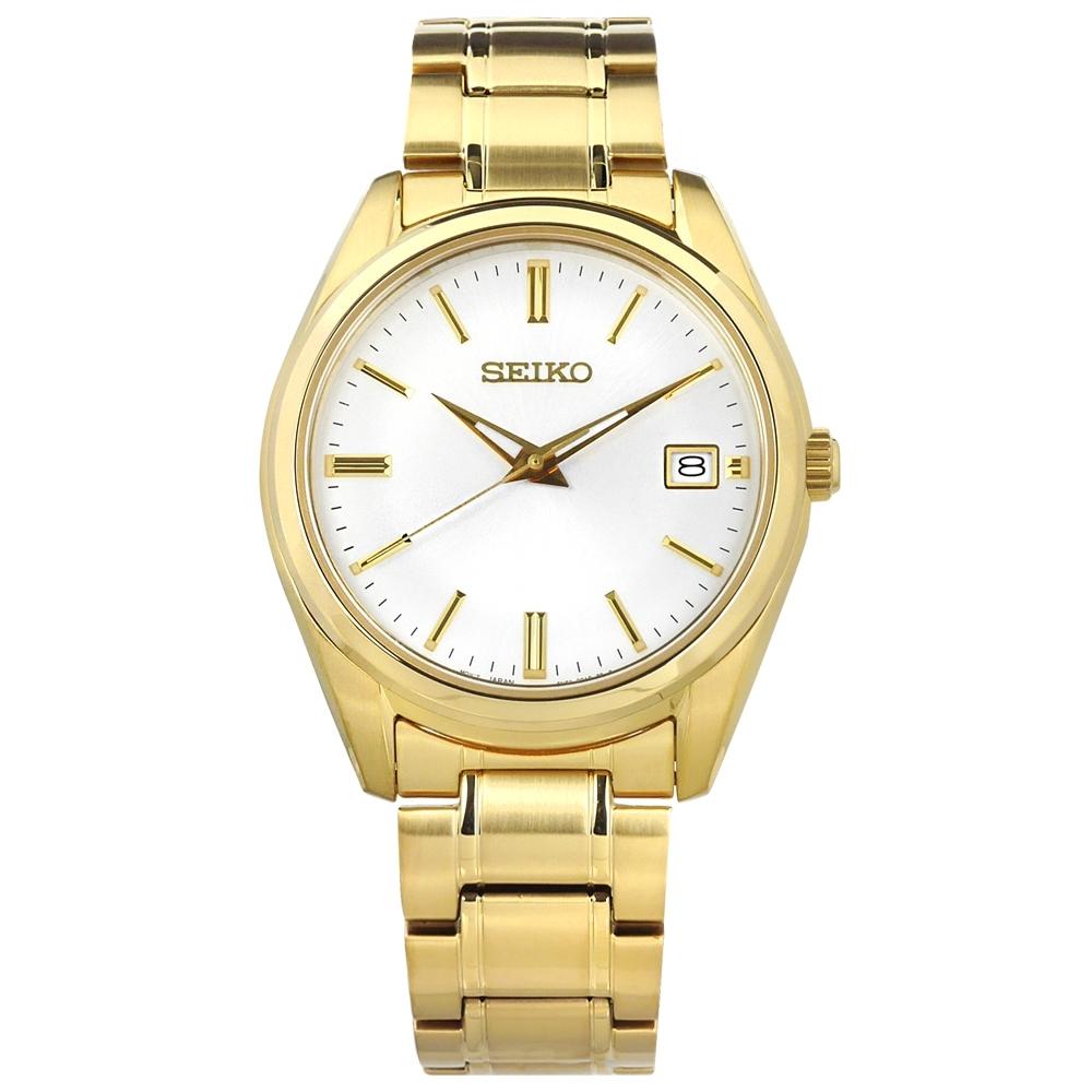 SEIKO 精工 簡約時尚 藍寶石水晶玻璃 日期 不鏽鋼手錶-白x鍍金 40mm