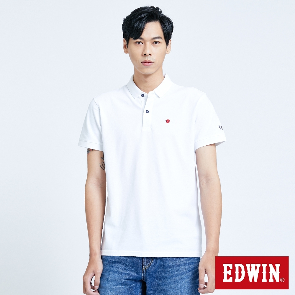 EDWIN 復古小領短袖POLO衫-男-白色