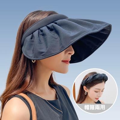 【89 zone】韓版可摺式防紫外線出遊帽箍兩用防曬空頂帽/遮陽帽 (黑)