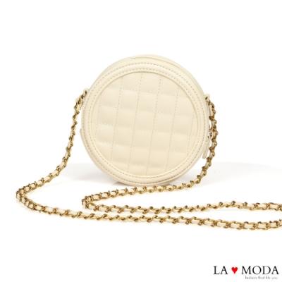 La Moda 時尚可愛小香風菱格紋肩背斜背鍊帶小圓包(米白)