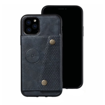 iPhone 12 Pro Max 磁吸 插卡手機殼 四邊 防摔 保護套 -藍色款-i12ProMax藍色*1