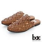 【bac】復古風潮 - 鏤空小方頭平底穆勒鞋-棕