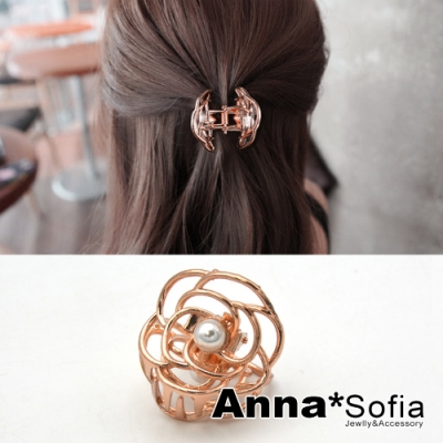 AnnaSofia 法式鏤空山茶花 純手工公主夾小髮抓髮夾(玫瑰金系)